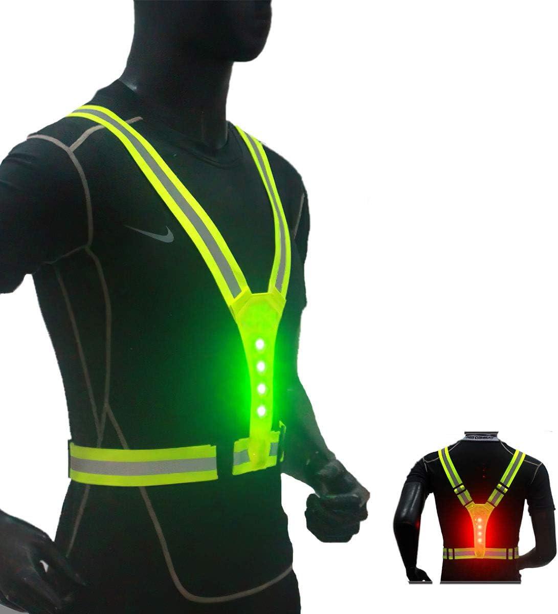 LED Rechargeable Night Running Jogging Chest Belt Rear Warning Light Belt Lamp E
