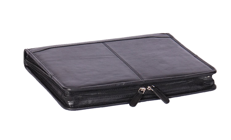Zip Around Folio Leather Folder A4 Binder Organiser Conference Underarm Bag Black A1