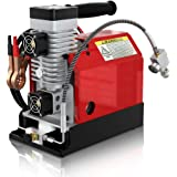 GX Portable PCP Air Compressor,Powered by 12V Car Battery, 4500Psi/30Mpa,Oil-Free,Paintball/Scuba Tank Compressor (with…