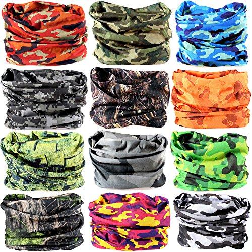 6pcs/8pcs/9pcs/12pcs Wide Headbands for Men and Women-Yoga Sports Wide Headwear Bandana balaclava Headwrap Face Mask Necker Warmer Helmet Liner 16 in 1 Multifunctional Headbands (Warmer Balaclava)