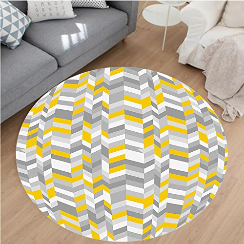 Nalahome Modern Flannel Microfiber Non-Slip Machine Washable Round Area Rug-Grey and Yellow Geometric Vintage 60s Inspired Zig Zags Marigold Charcoal Grey and White area rugs Home Decor-Round 28