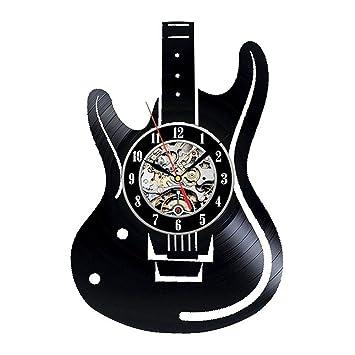 Hollow Guitarra eléctrica Vinilo Disco de Vinilo Reloj decoración Creativa Instrumento Musical Reloj de Pared Guitarra