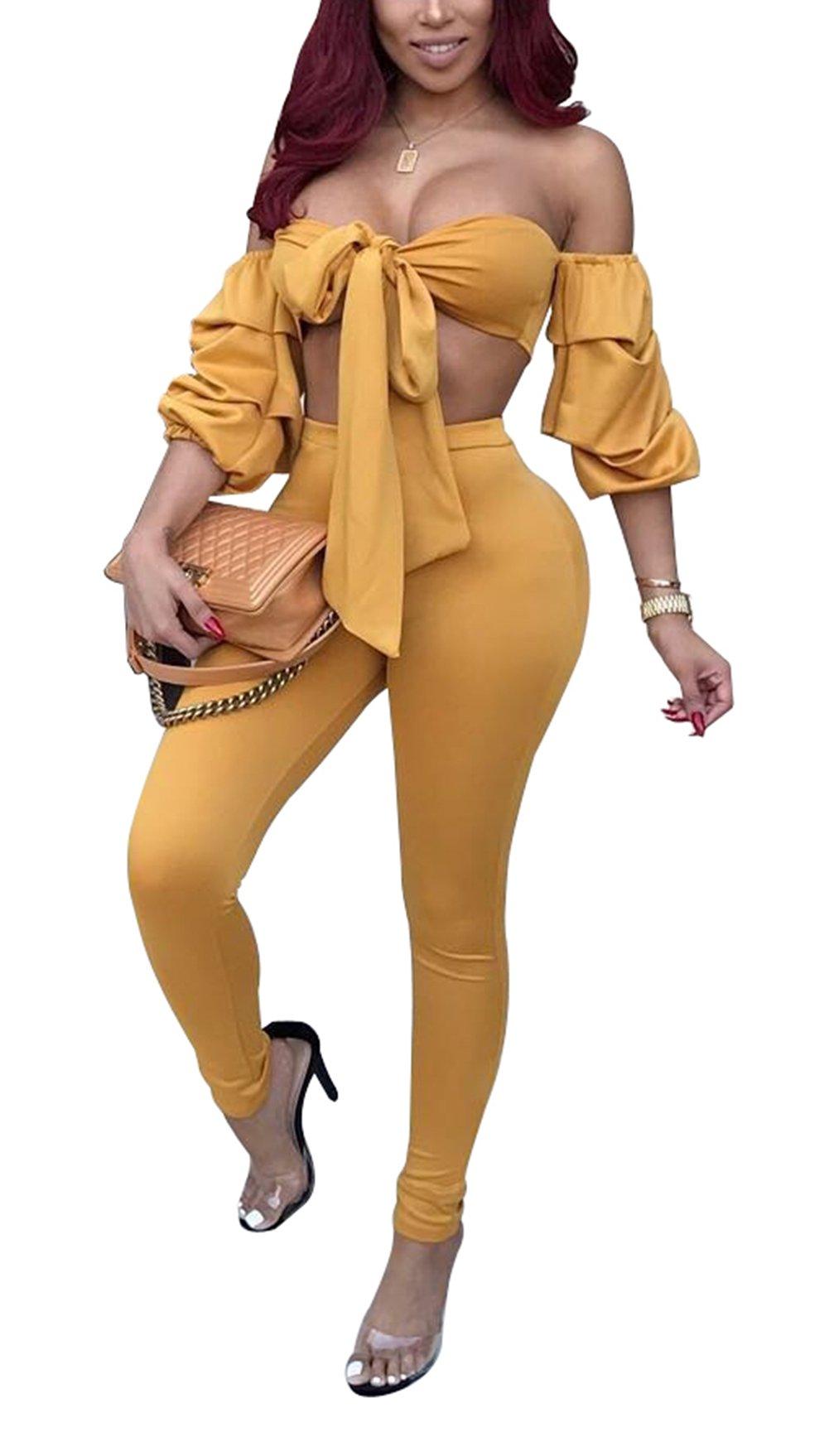 Bluewolfsea Women's Sexy Bodycon Jumpsuit Romper Off Shoulder Layered Ruffle Sleeve Crop Top and Pants SetMedium Yellow