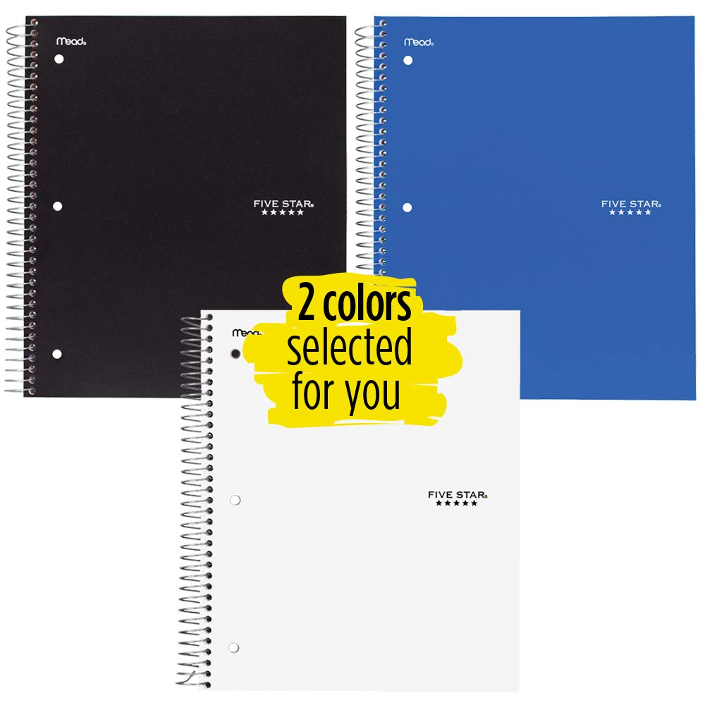 Five Star Spiral Notebooks, 3 Subject, College Ruled Paper, 150 Sheets, 11'' x 8-1/2'', Colors Selected For You, 2 Pack (73015)