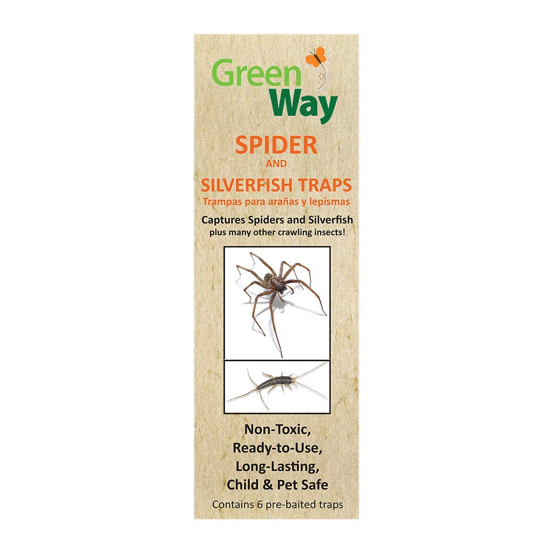GreenWay Spider & Silverfish Trap - 72 pre baited Traps (12 Pack of 6), Ready to Use Heavy Duty Glue, Safe, Non-Toxic with No Insecticides or Odor, Eco Friendly, Kid and Pet Safe by GreenWay