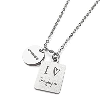 Fanstown kpop SHINee Necklace Dual Pendants Necklace Team Logo and LOVE Symbol to member name Necklace: Clothing