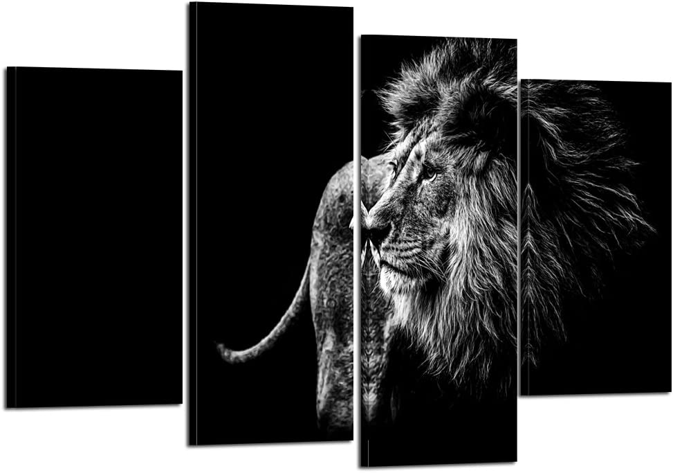 Kreative Arts - Black and White Lion Head Portrait Wall Art Painting Print On Canvas Animal The Picture for Home Modern Decoration (Black Lion 3)