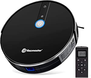 Vacmaster Robot Vacuum Cleaner Automatic 1800Pa Power Suction Thin Design Quiet Smart Sensor Protection, Up to 100mins Runtime Automatic Self-Charging Robotic Vacuum for Cleaning Pet Hair, Hard Floor