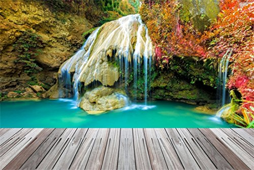 OFILA Waterfall Backdrop 9x6ft Nature Park Scenery Photography Backgrond Cascade Photos Autumn Holidays Travel Party Decoration Adult Events Forests Paradise Background Birthday Shoots Props (Waterfall Park)