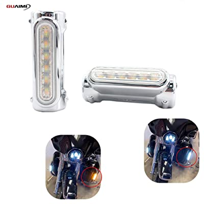 "GUAIMI Motorcycle Highway Bar Lights Smoke Lens Switchback Driving Lights Fits 1-1/4"" Highway/Crash Bars for Harley Davidson Victory Bikes-Chrome: Automotive"