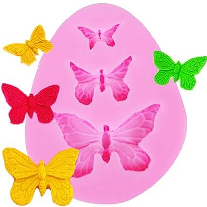 Ndier - Molde de silicona para tartas de chocolate con 3 mariposas