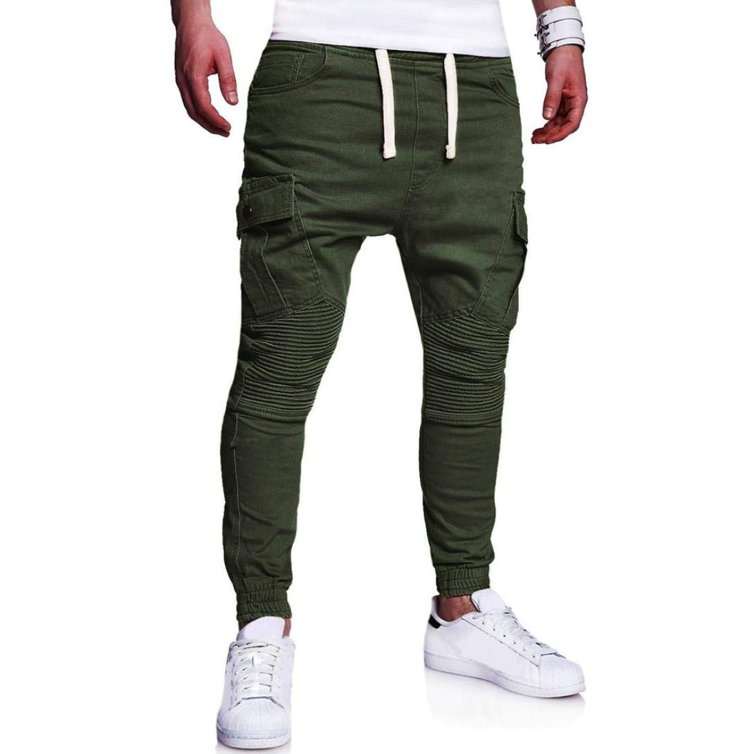 Realdo Hot!Clearance Sale Fashion Men's Sport Joint Lashing Belts Casual Loose Drawstring Jogger Pant(Large,Army Green)