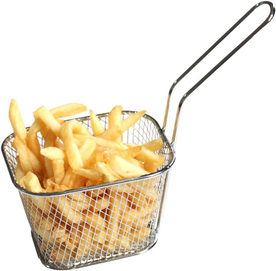 Pour frites UN Mini paniers /à frire en chrome HUAXIONG Acier inoxydable Noir beignets doignon quartiers de pomme de terre crevettes