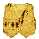 MSemis Kids Boys Shiny Party Costume Vests Sequins Waistcoat for Hip-hop Jazz Dance Stage Performance Gold 8-9
