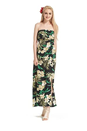 24d574b3a19 Made in Hawaii Hawaiian Luau Muumuu Double Ruffle Shoulderless Maxi Dress  in Pink with Yellow Floral at Amazon Women s Clothing store