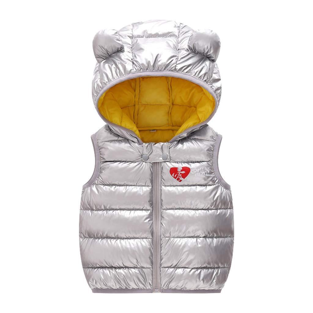 BFYOU Toddler Baby Girl Sleeveless Winter Windproof Coat Hooded Warm Outwear Waistcoat Gray by BFYOU_ Girl Clothing