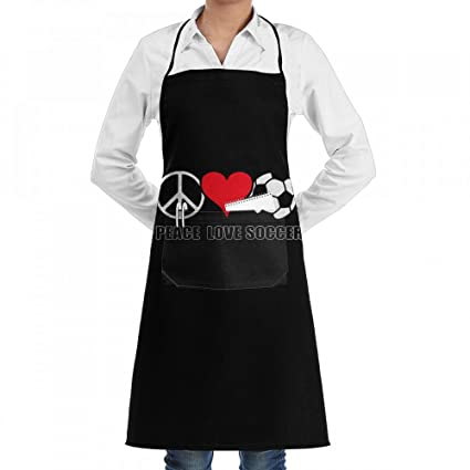 Wodehous Adonis Peace Love Soccer World Cup Adjustable Bib Kitchen A With Pockets For Women Men