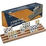 Lulu Home Domino Racks, 4 Professional Wood Domino Trays Premium Holder Racks Great for Mexican Train, Mahjong, Games