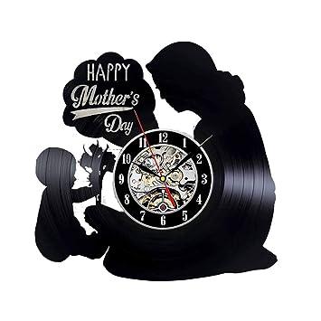 CHENG Reloj de Pared Registro día de la Madre Interior decoración diseño Moderno Reloj Vinilo Reloj Regalo para el día de la Madre: Amazon.es: Hogar