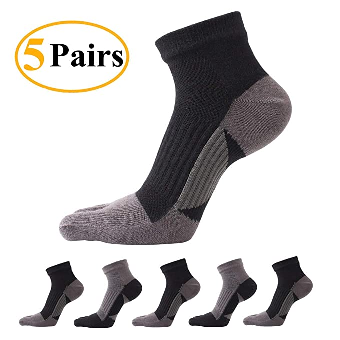 a95f3dec5 Image Unavailable. Image not available for. Color  Toe Socks 5 Pairs Five Finger  Socks Mini Crew Athletic Running Socks for Men