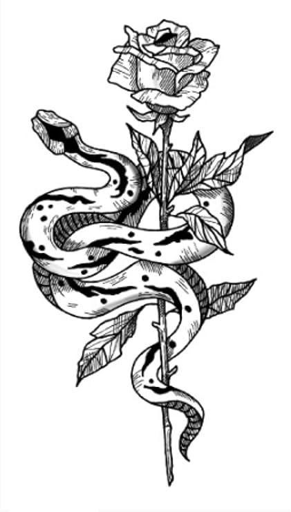 Tatuaje temporal a prueba de agua HBDG camelia rosa flores ...
