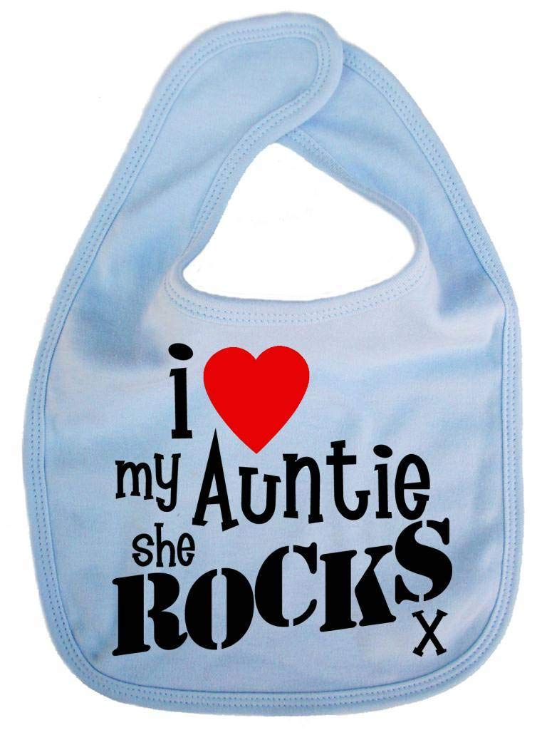 Dirty Fingers, I love my Auntie she Rocks x, Baby Cute Feeding Bib, Pale Blue DFBIBloveauntyB