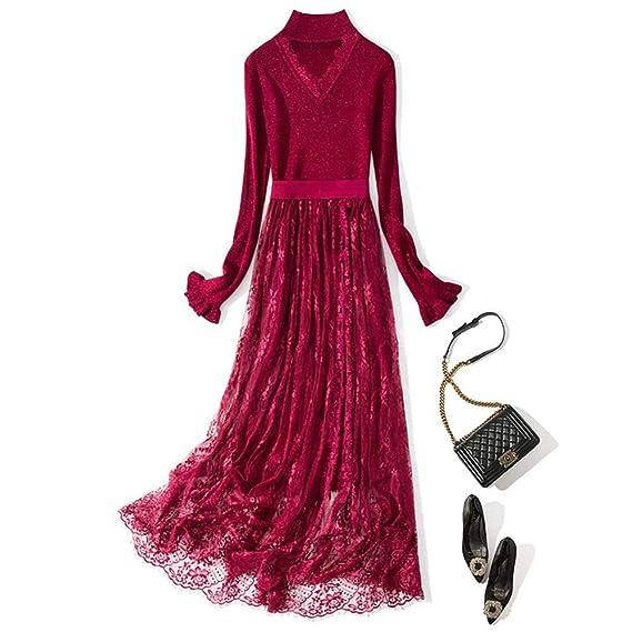 Vestido de Dos Piezas para Mujer con Encaje Bordado Suelto y Falda ...