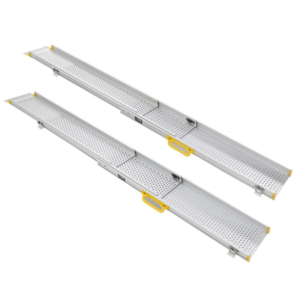 Ruedamann 10' Aluminum Adjustable Portable Telescoping Track Ramps Lightweight Retractable Wheelchair Ramp, Sold in Pairs, 6.5 Inch Inside Width 10 ft (MR107T-10) by Ruedamann