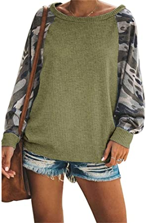 iSunday Mujer Camuflaje Blusa Tops Manga Larga Cuello Redondo Tops Camisa Informal - Verde Militar, Large: Amazon.es: Hogar