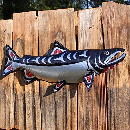 CUSTOM for you - Chinook Salmon Sculpture - Aluminum Metal Fish Tribal Wall Art - Pacific Northwest Coast Indian inspired - black red or blue