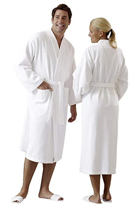 ZOLLNER reg  Bath Robe   Dressing Gown   Sauna Robe in Kimono Style Unisex  White 100 de495d9c8