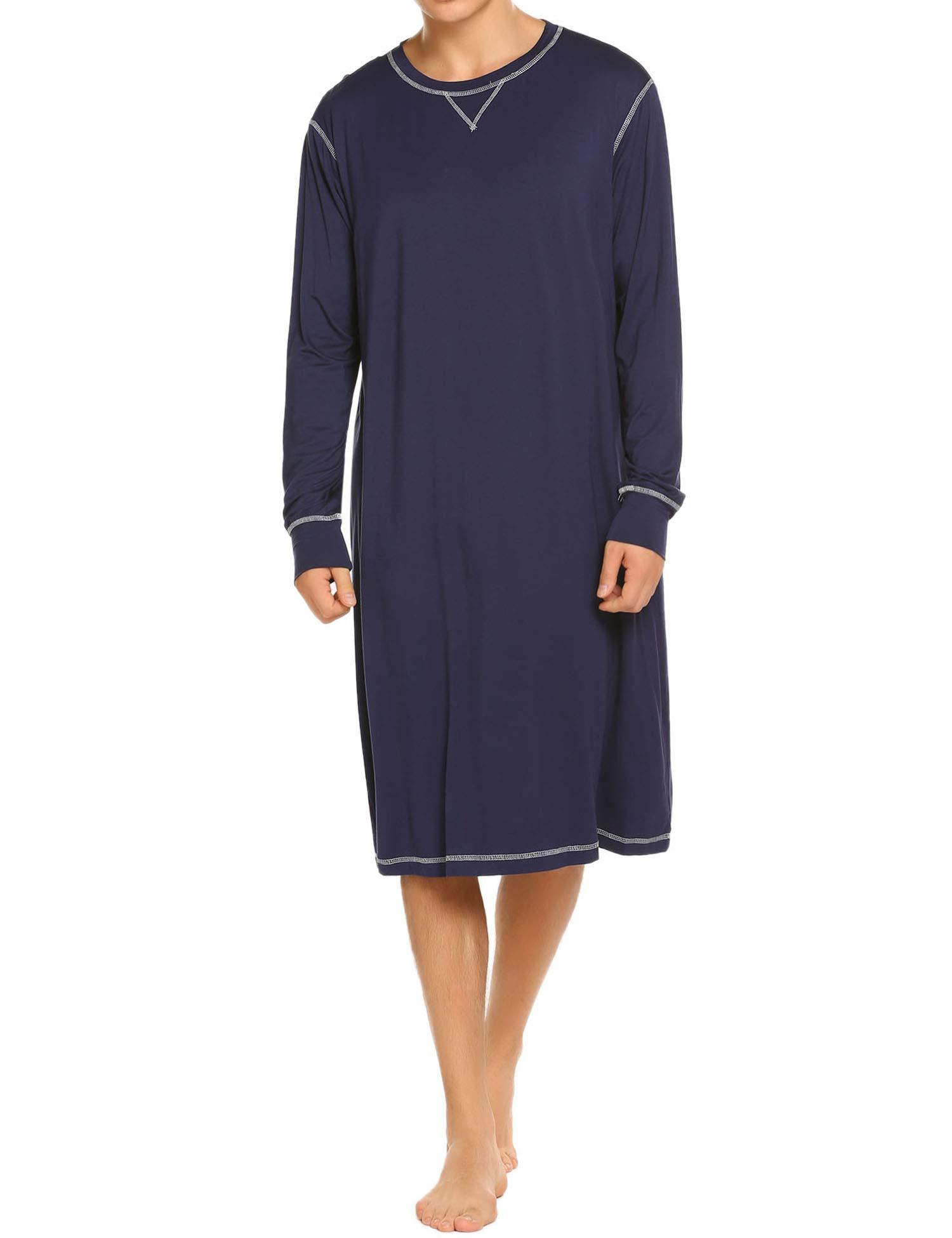Ekouaer Sleepwear Mens Long Sleeve Nightshirt Long Nightgown Soft Pajamas Sleep Shirt ,Navy,X-Large