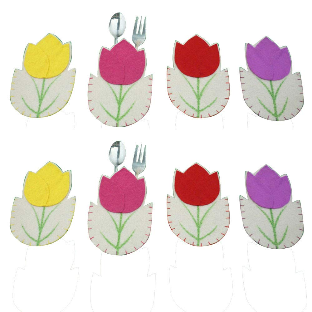 8 Sets Silverware Holders Pockets Flower Shaped Easter Party Decoration Kitchen Cutlery Suit Knifes Forks Bag For Easter Home Decorations (Multicolor)