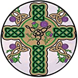 Printing Round Rug,Celtic,Celtic Knot Design Christian Cross Icon Wreath Flowers Retro Floral Welsh Pattern Mat Non-Slip Soft Entrance Mat Door Floor Rug Area Rug For Chair Living Room,Mustard Green