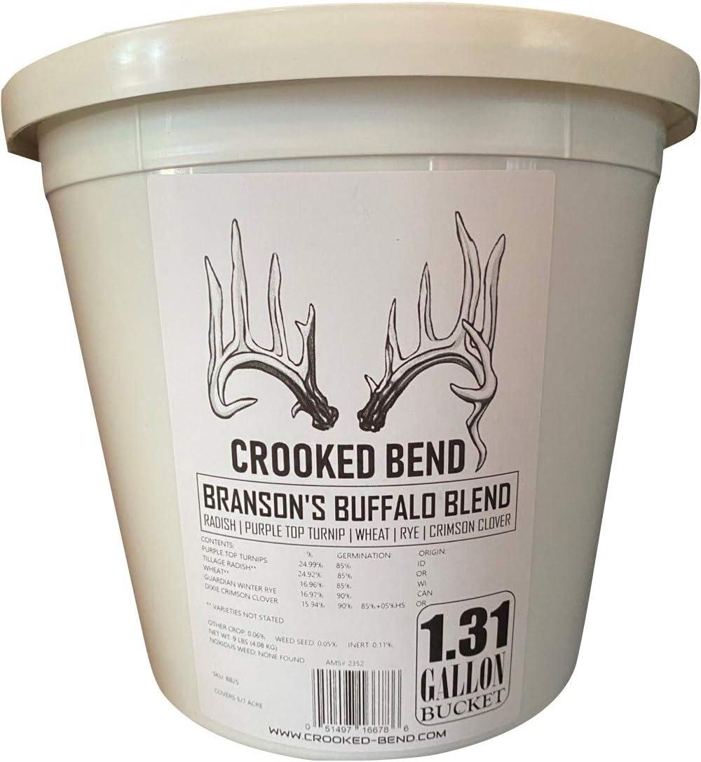 Branson's Buffalo Blend | 9lb Bucket | Turnip Radish Wheat Cereal Rye Clover Mix | Branson's Buffalo Blend | Whitetail Deer Food Plot Seed