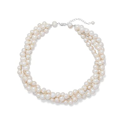ced4588ecca65 Three Strand Torsade Cultured Freshwater Pearl Necklace Sterling Silver  Adjustable Length