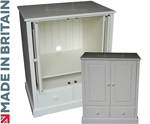 Solid Wood TV Unit White Painted TV DVD Painted Hideaway