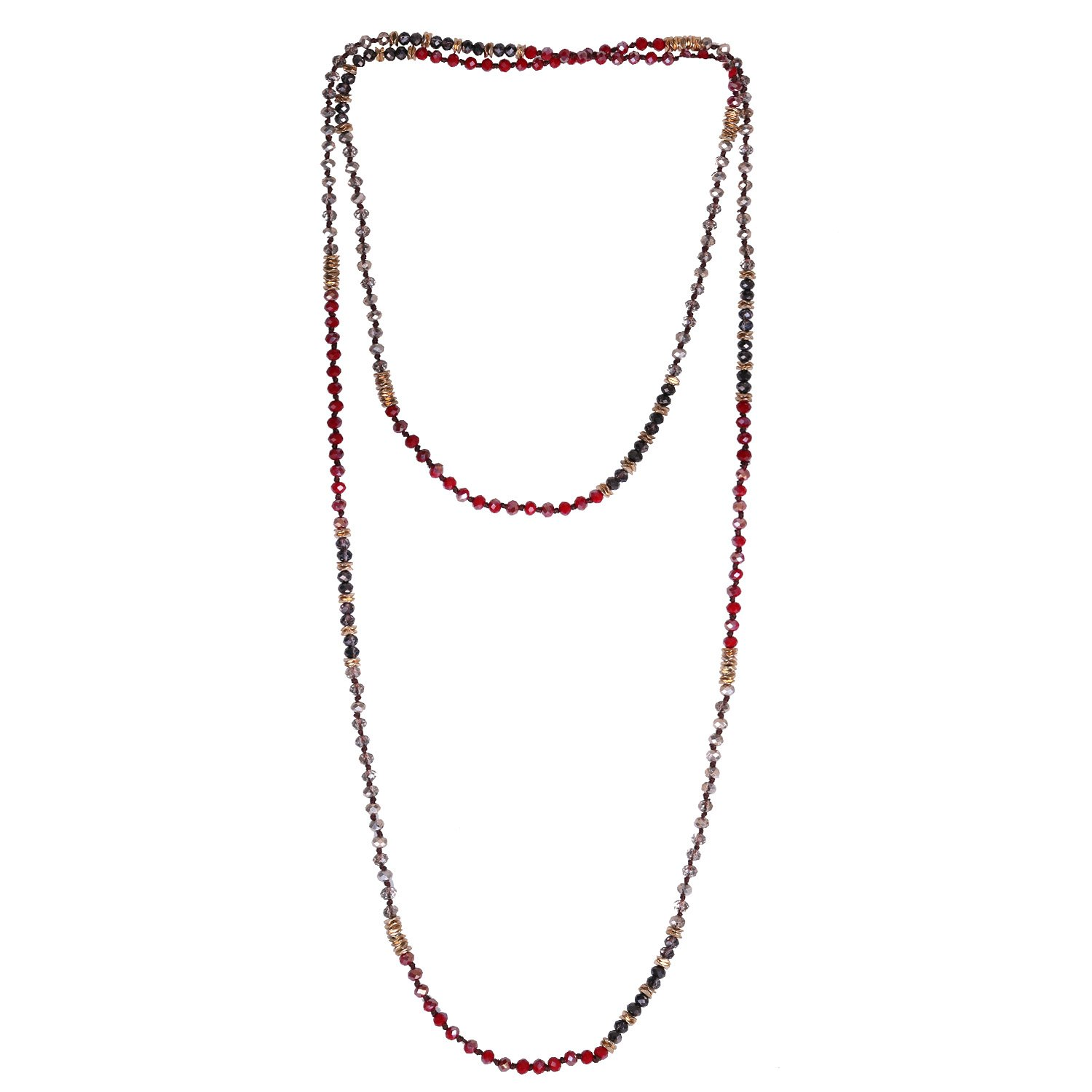 KELITCH Crystal Beaded Necklace Double Wrap Necklace Boho Tribal Women Necklace AMN-17063AK