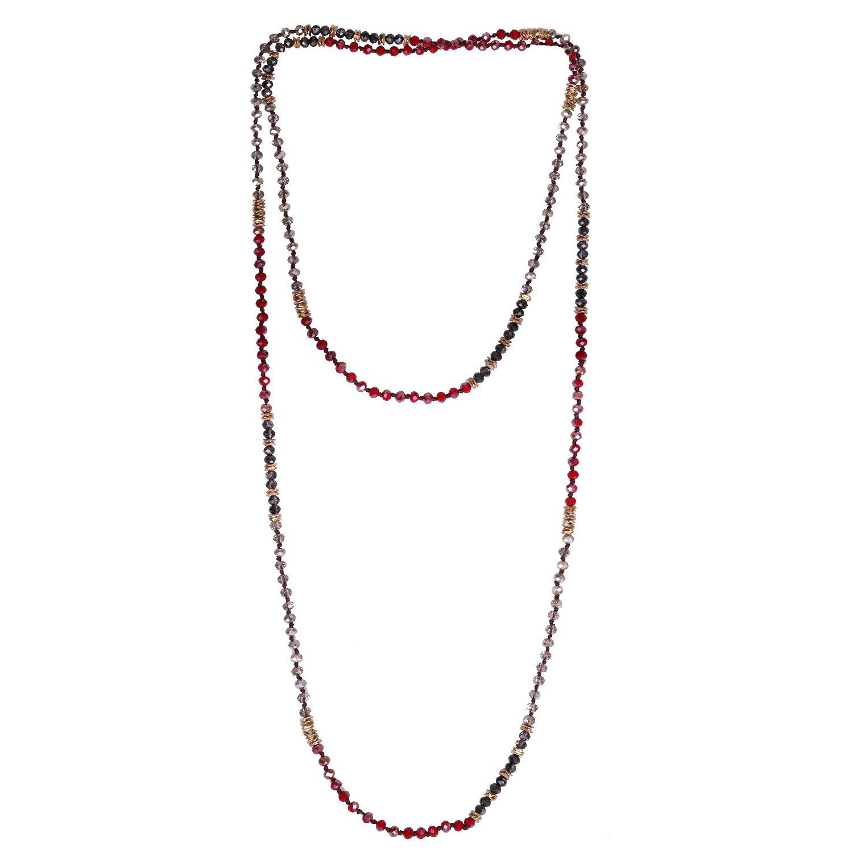 KELITCH Crystal Beaded Necklace Double Wrap Necklace Boho Tribal Women Necklace AMN-17063AK