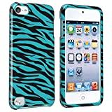 eForCity Snap-On Case for Apple iPod touch 5G, Blue/Black Zebra