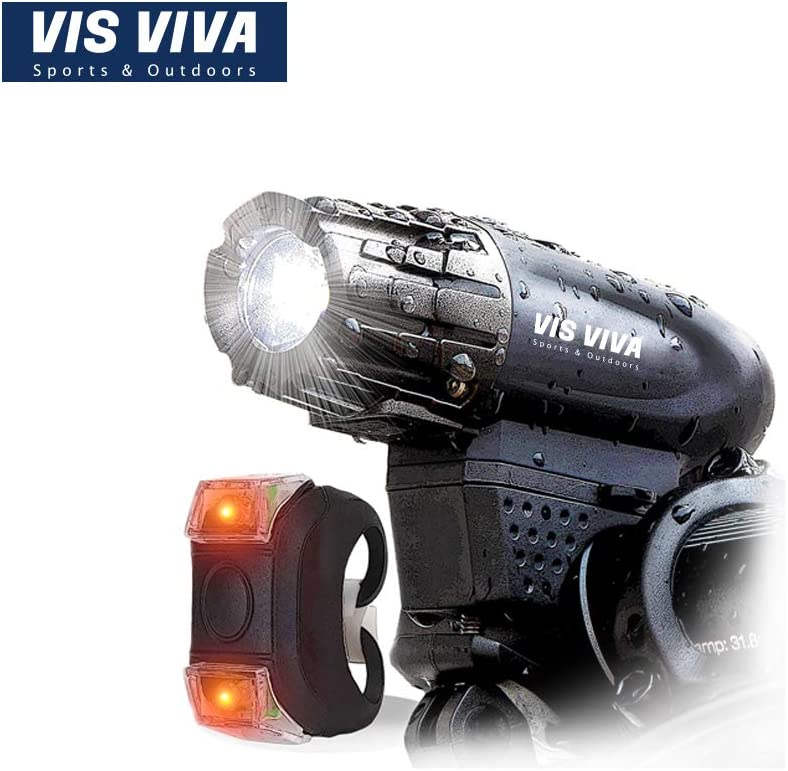Vis Viva USB Rechargeable LED Bike Light Sets with Both Front and Rear Lights, Easy to Install, Water Resistant and Four Modes Flashlights for Cycling Safety
