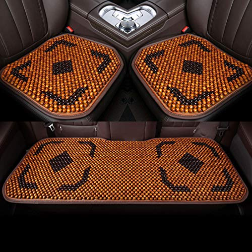 RUNNG 3-piece Car Seat Cushion, Natural Wood Beaded Cushion For Car Seats Or Office Chairs: