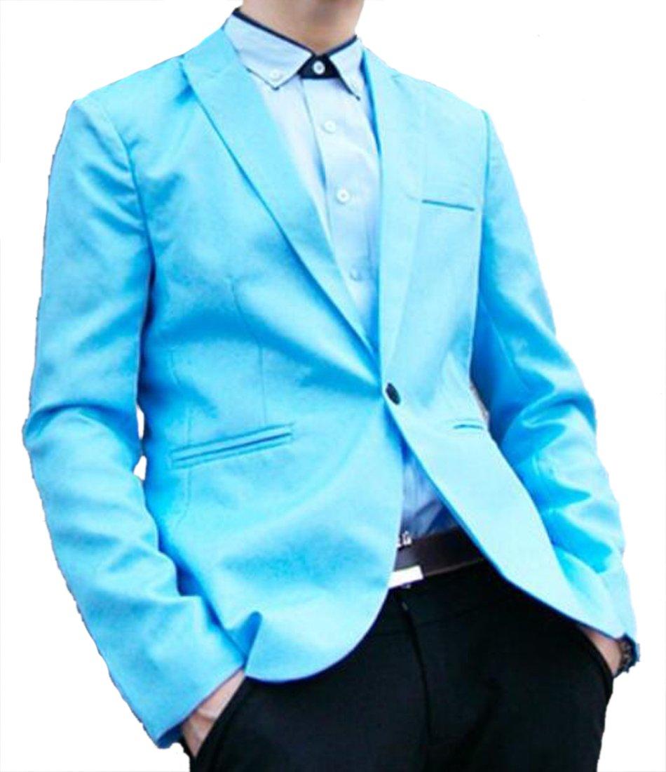 SHOWNO Men's Lapel Collar Pure Color Slim Casual Formal One Button Blazer Jacket Coat