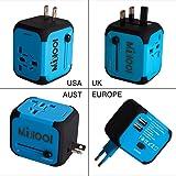 Adaptateur de Voyage avec 2 USB Adaptateur Universel Pris de Courant pour UE/US /UK/AUS Utilisé dans Plus de 150 Pays Adaptateur Chargeur avec Deux fusible(fusible de Rechange)-Bleu-MILOOL
