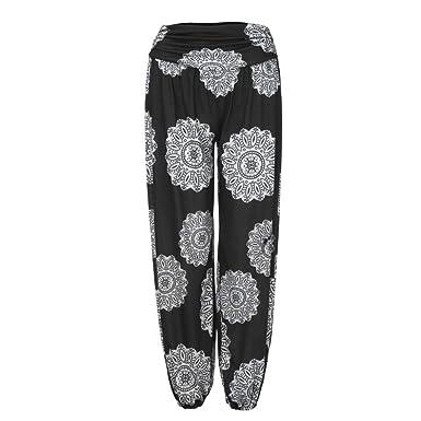 f23e34960beb UOFOCO Wide Leggings Pants for Womens Harem Trouser Loose Print Ladies Full Length  Pants
