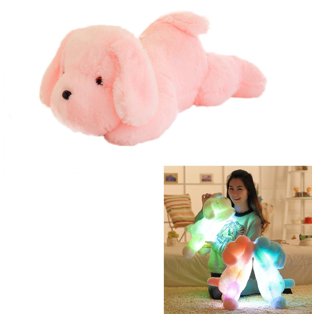 Vivian Inductive Glow Dog Plush Toy LED Nightlight Soft Stuff Toy Gifts for Kids (Pink)