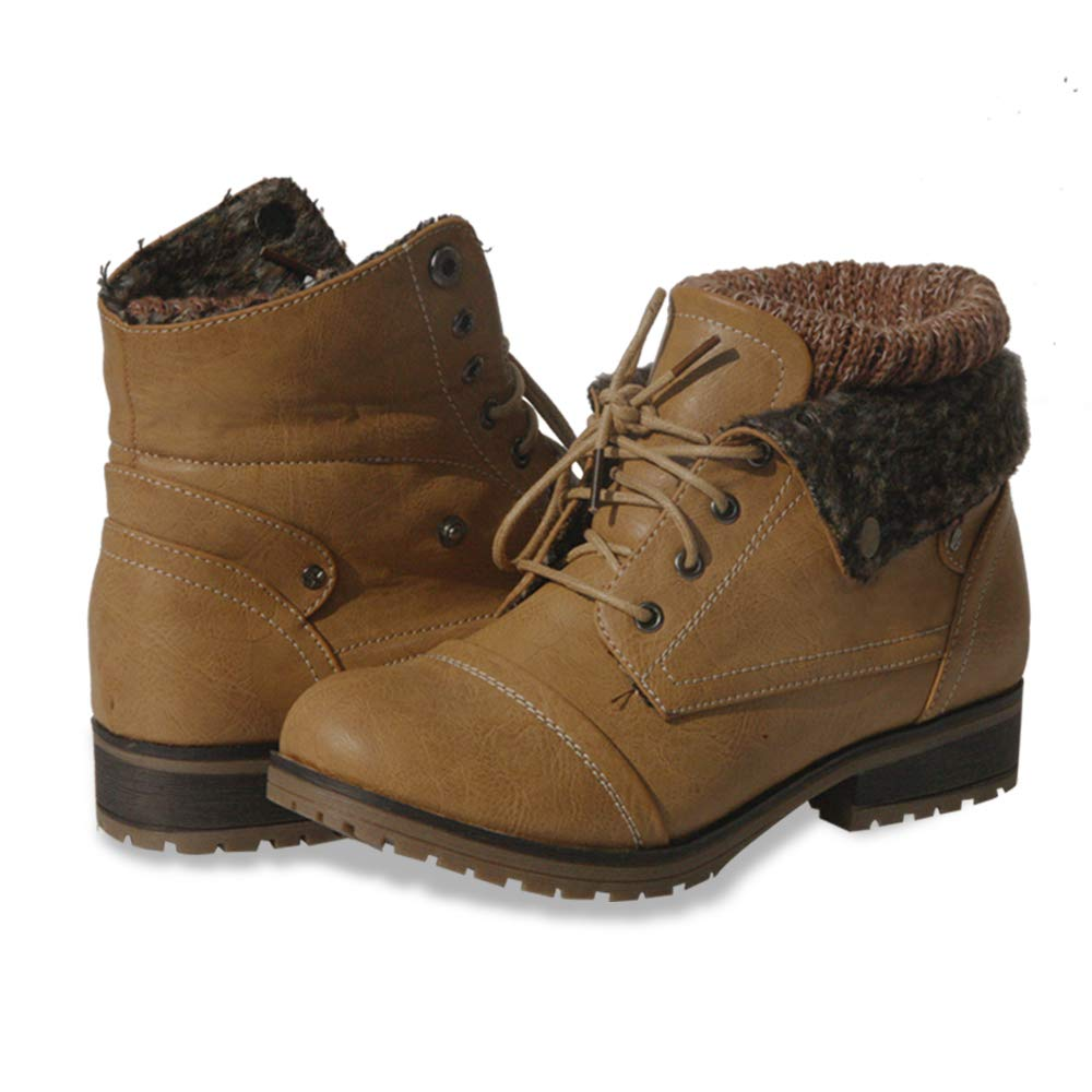 Tan Women's Knitted Cuff Ankle Booties Lace up Combat Boots Folded Collar Stylish Snow Boots Hiking shoes