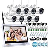 Jennov 8 Channel Security Camera IP Wireless Home Video Surveillance System With HD 12 Inch LCD Monitor 1080P Wifi NVR Kits 8PCS 960P Bullet White Day Night Cameras Mobile Phone Remote View(No HDD)