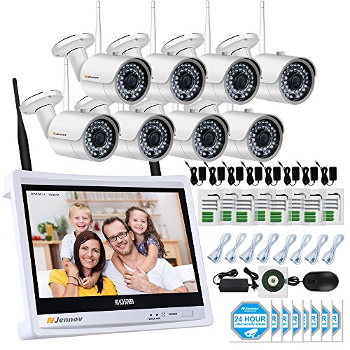 Jennov 8 Channel Security Camera IP Wireless Home Video Surveillance System With HD 12 Inch LCD Monitor 1080P Wifi NVR Kits 8PCS 960P Bullet White Day Night Cameras Mobile Phone - Tel Limited Pacific