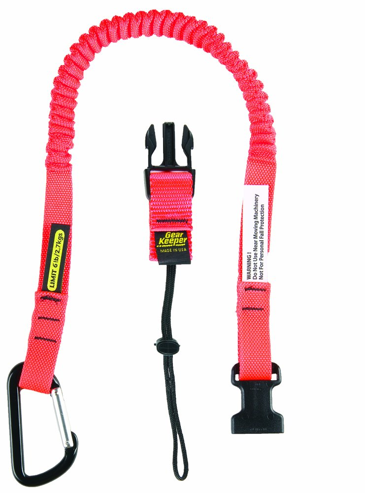 Gear Keeper TL1-3012 3/4 Super Coil Personal Tool Tether/Lanyard with Aluminum Carabiner and Side Release, 25'' - 47'' Length